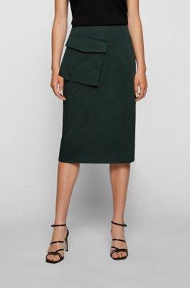 Asymmetric-pocket pencil skirt in stretch organic cotton, Dark Green