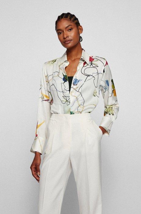 Floral-print blouse in silk-blend crepe georgette, Patterned