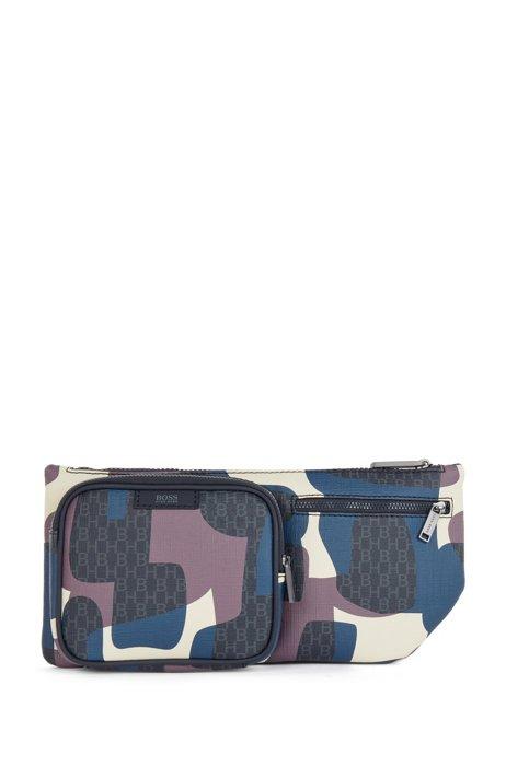 Camouflage-print belt bag in Italian monogram fabric, Patterned