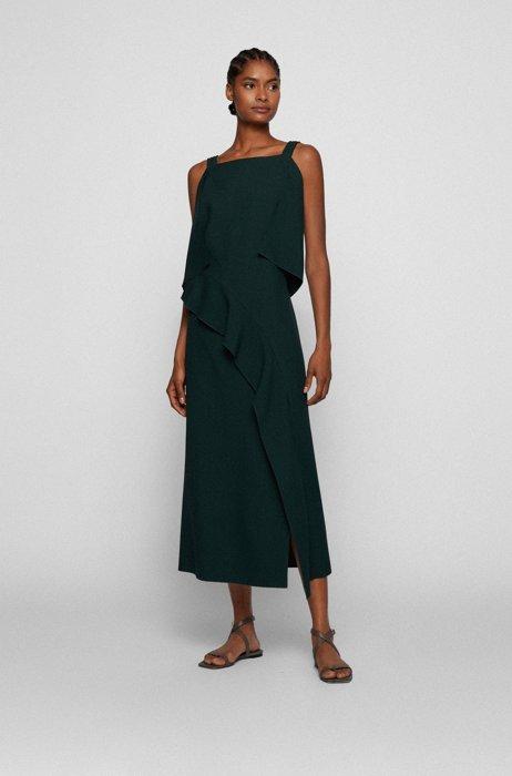 Slim-fit dress with volant trim, Dark Green