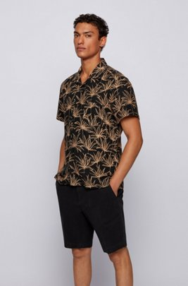 Printed regular-fit shirt in linen and modal, Black