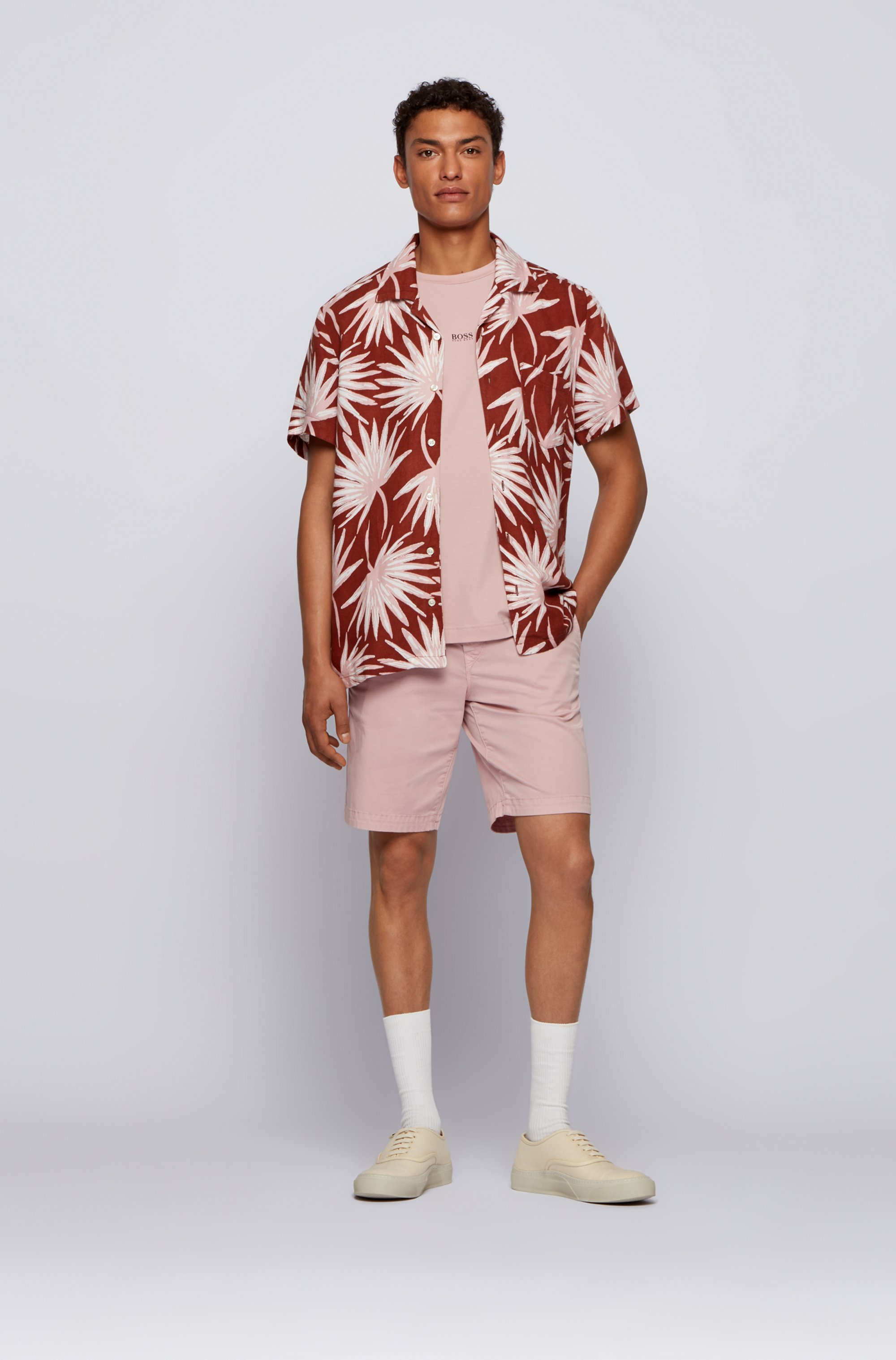 Printed regular-fit shirt in linen and modal
