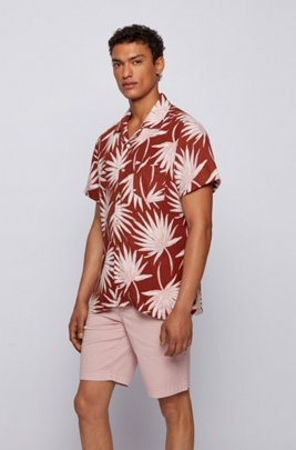 Printed regular-fit shirt in linen and modal, Brown