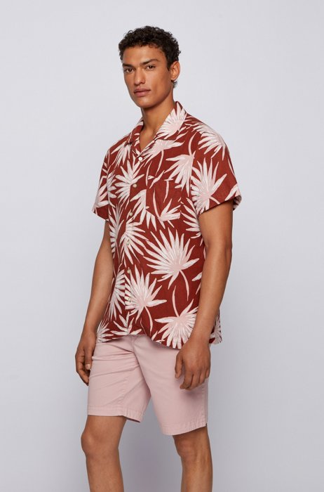 Bedrucktes Regular-Fit Hemd aus Leinen und Modal, Braun
