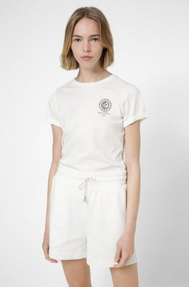 Slim-fit T-shirt in organic cotton with exclusive icon, White
