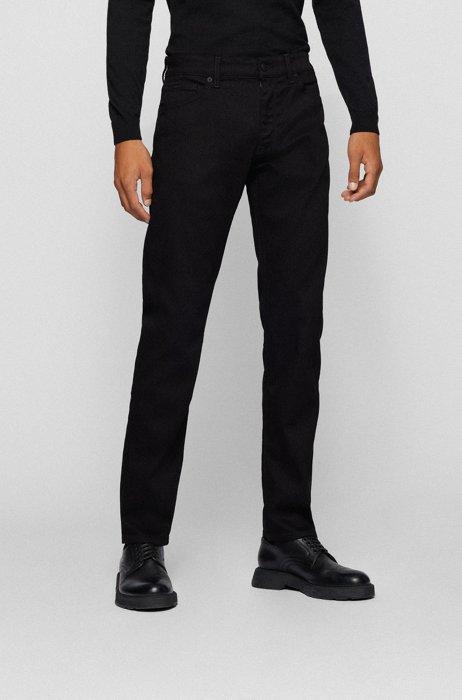 Regular-fit jeans in black Italian cashmere-touch denim, Black