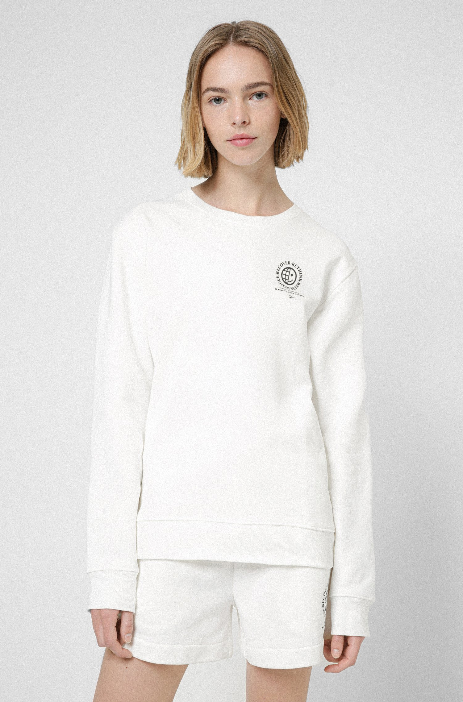 Relaxed-fit sweatshirt in organic cotton with rear artwork, White