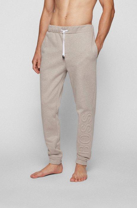 Logo tracksuit bottoms in cotton-blend fleece, Light Beige