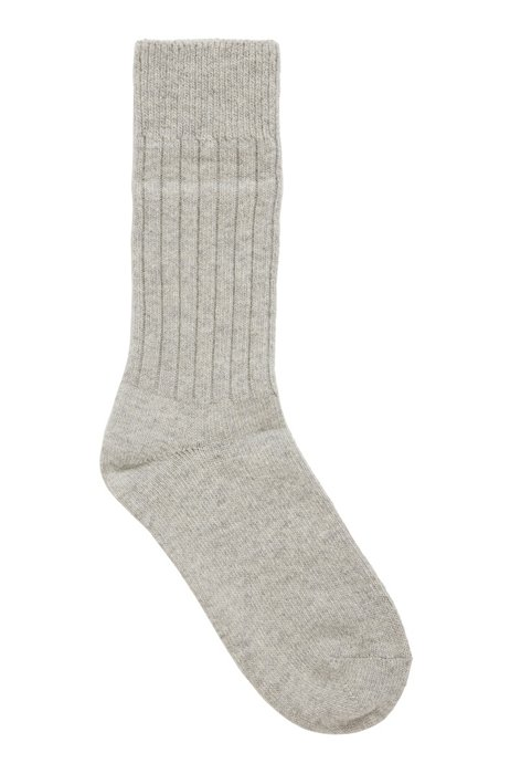 Boot socks with ribbed structure in soft yarns, Grey