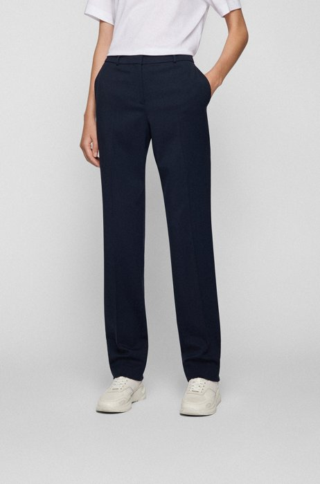 High-waisted regular-fit pants in stretch wool, Light Blue