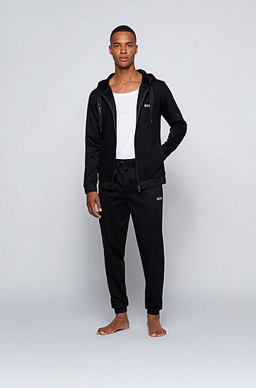 刺绣徽标棉毛运动裤,  001_Black