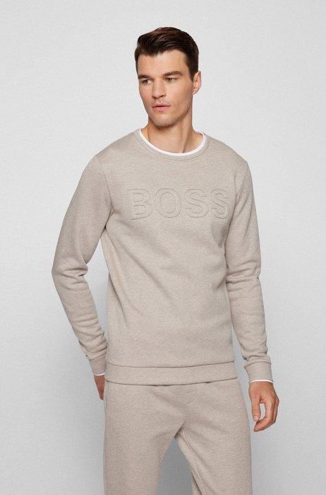 Loungewear sweatshirt in cotton-blend fleece with padded logo, Light Beige