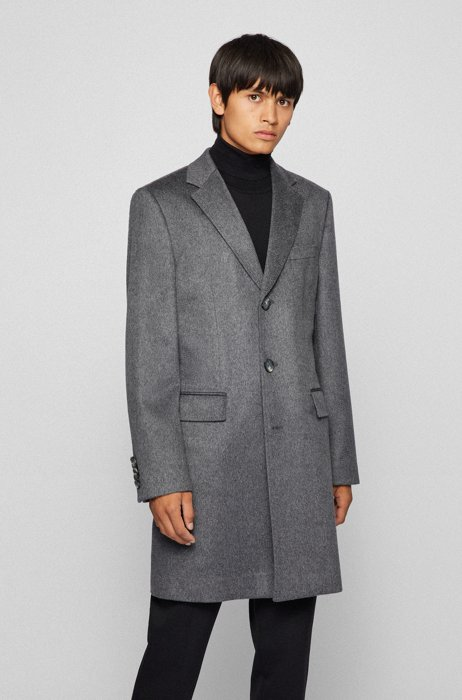 Slim-fit formal coat in pure cashmere, Grey