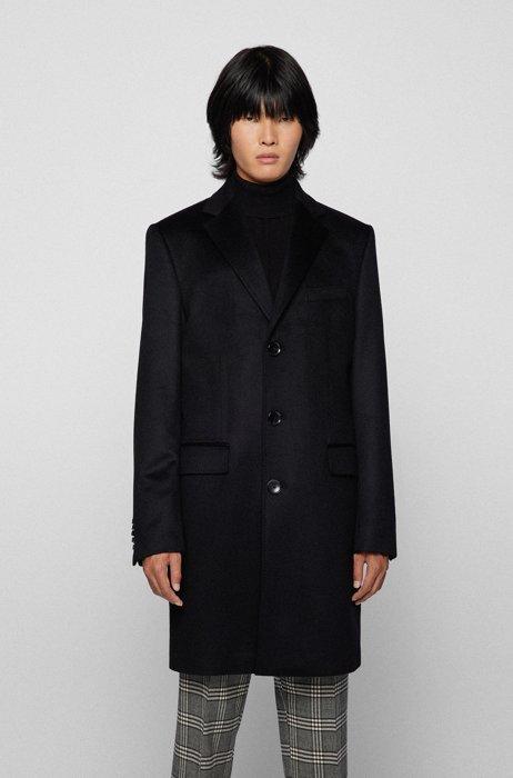 Slim-fit cashmere coat with under-collar trim, Black