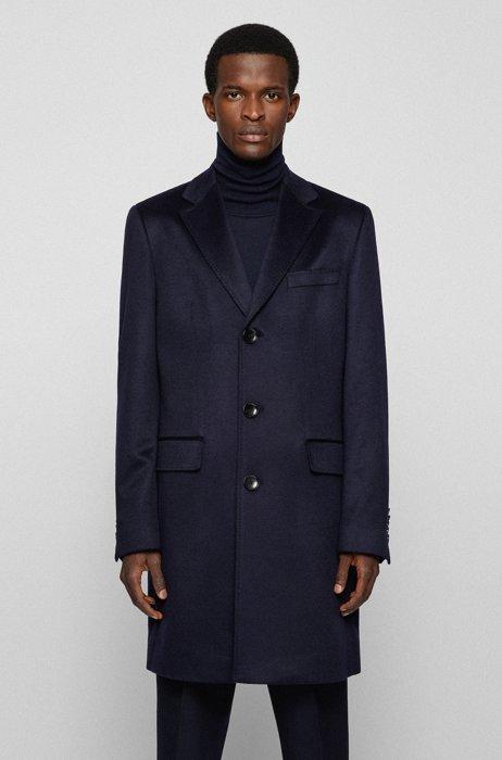 Slim-fit cashmere coat with under-collar trim, Dark Blue