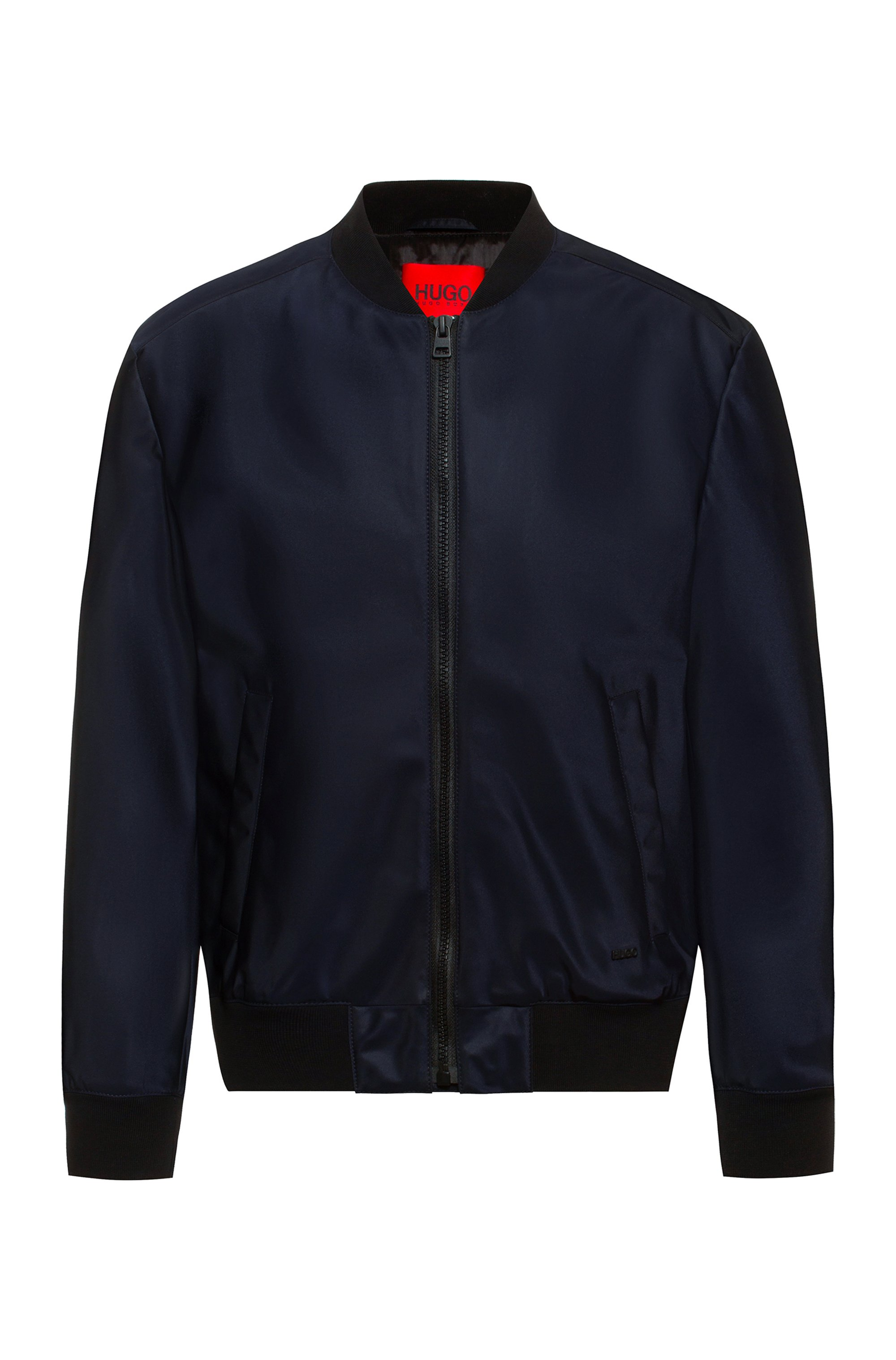 Regular-fit bomber jacket in water-repellent twill, Dark Blue