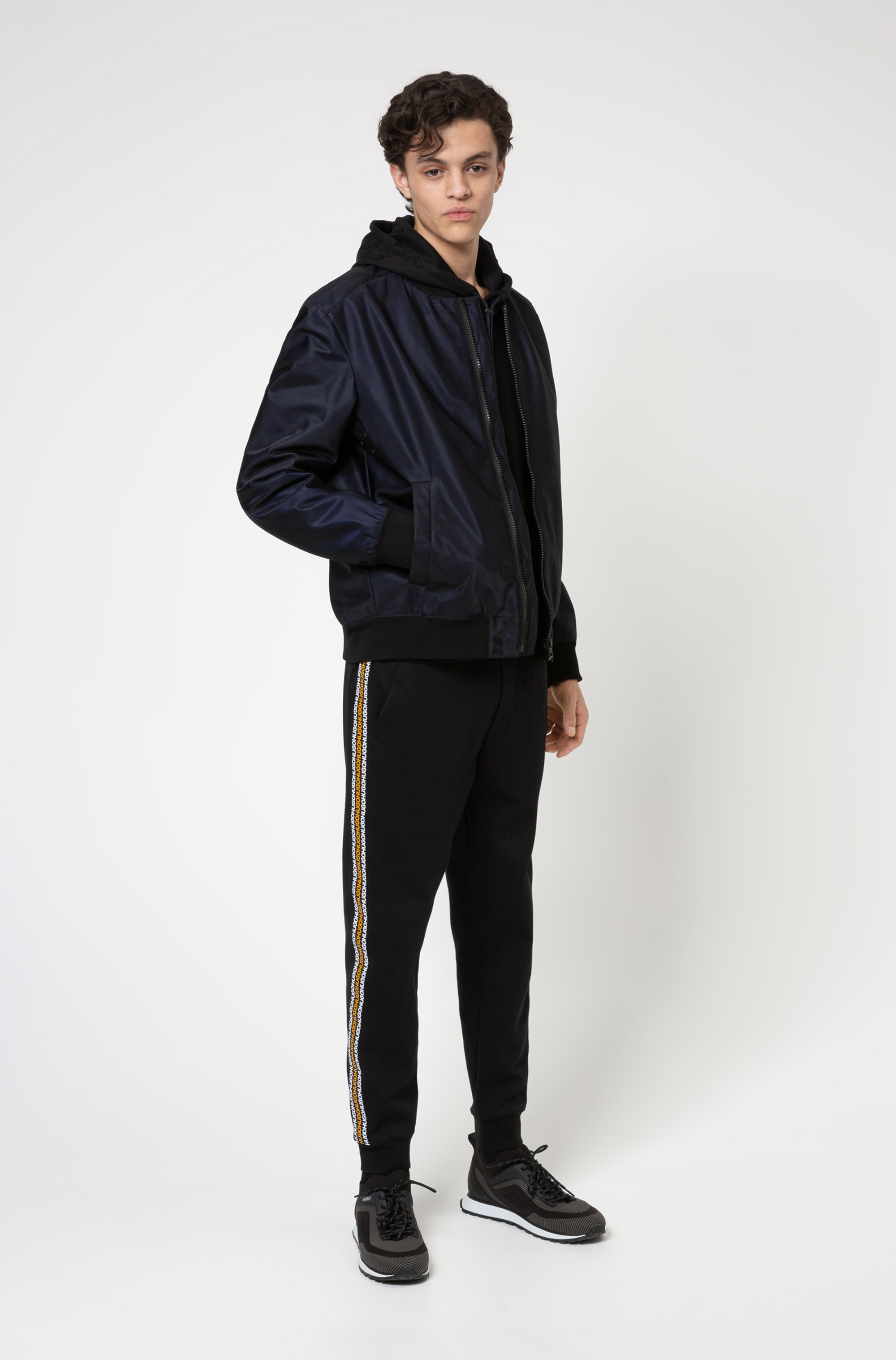Regular-fit bomber jacket in water-repellent twill