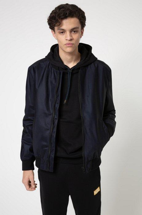 Regular-fit bomber jacket in water-repellent twill, Dark Blue
