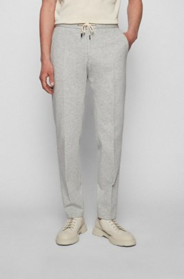 Slim-fit trousers in stretch cloth with melange pattern, Light Grey