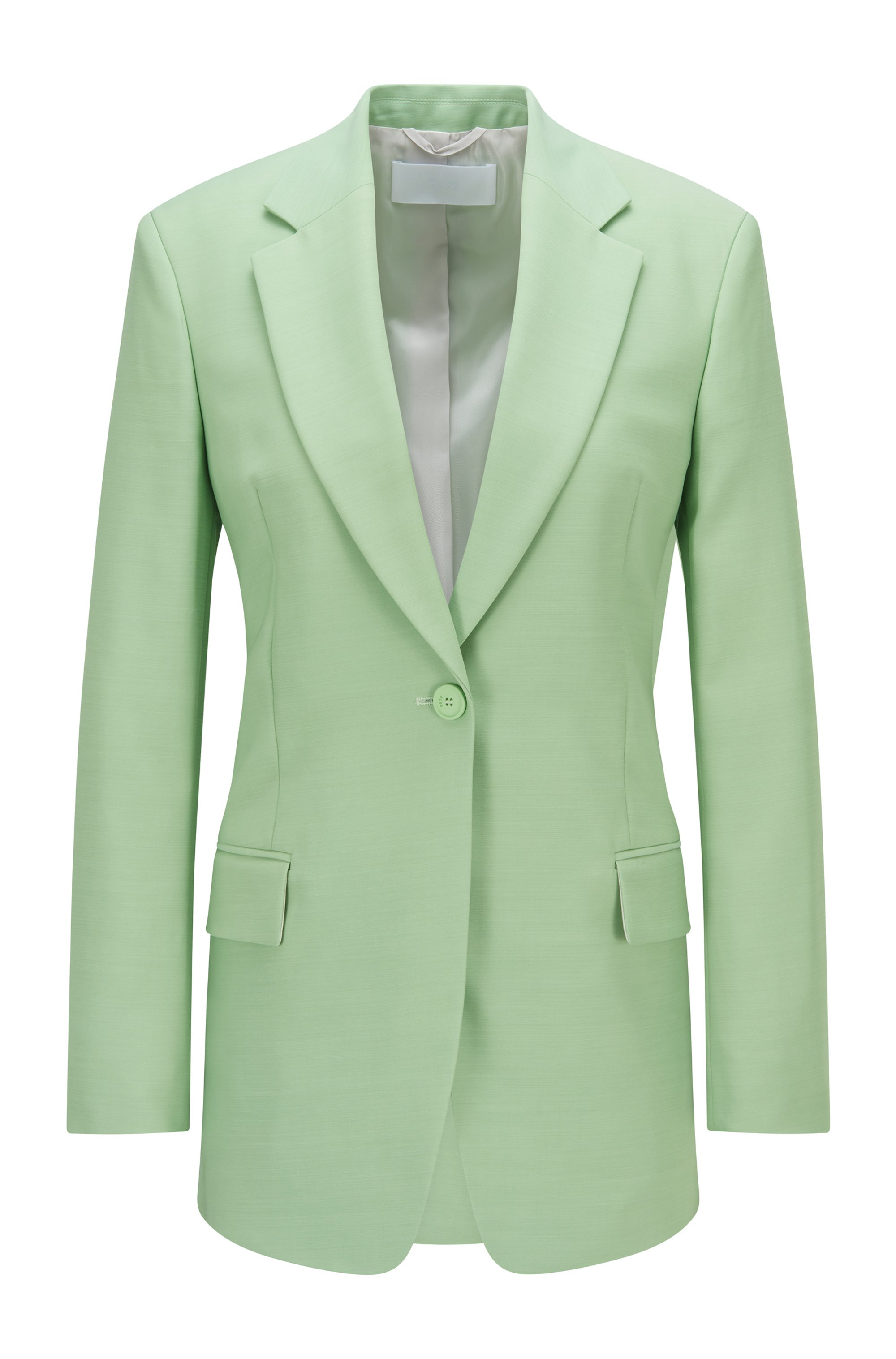 Single-breasted jacket with solid weave, Light Green