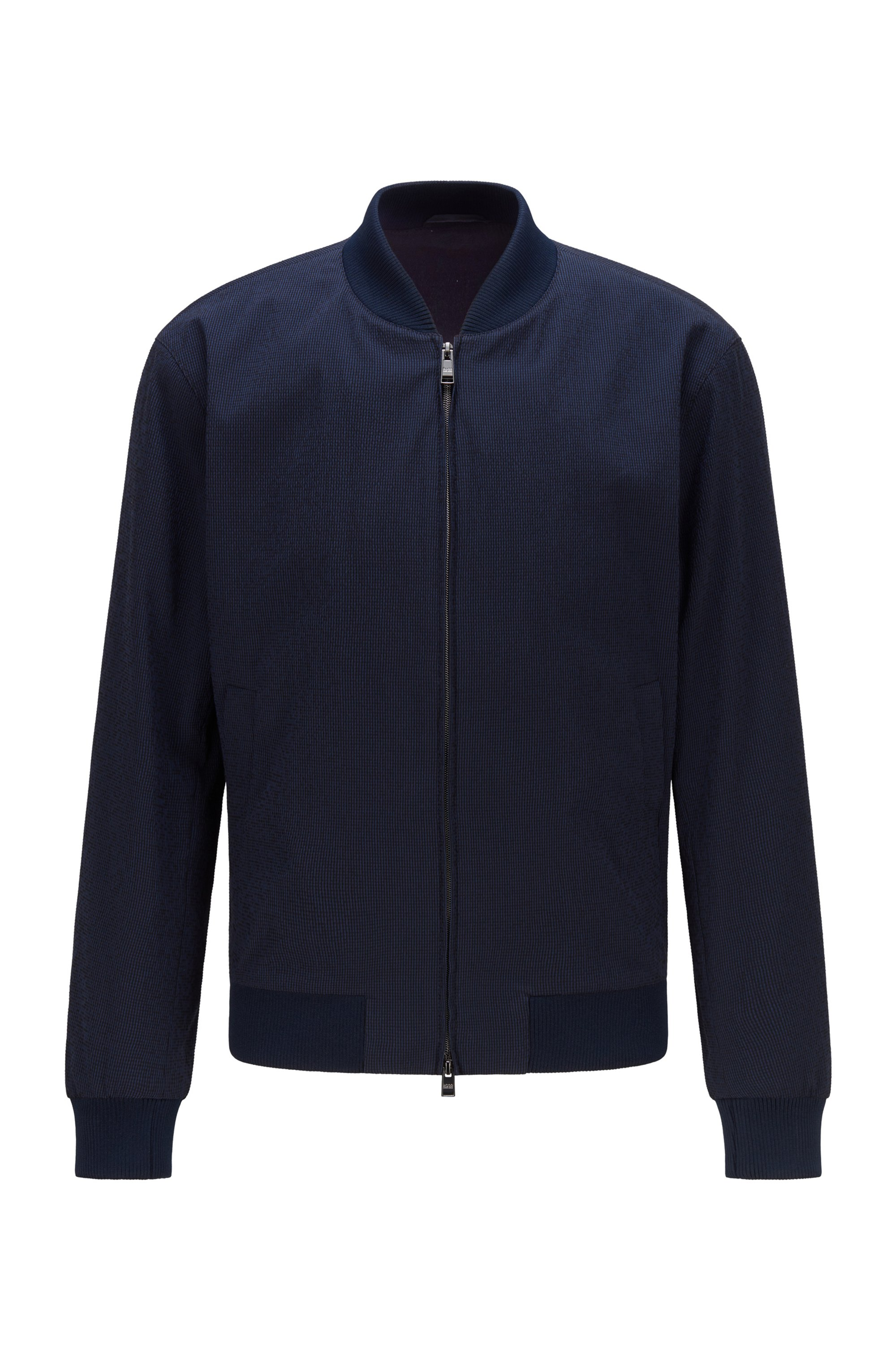 Slim-fit jacket in cotton-blend seersucker, Dark Blue