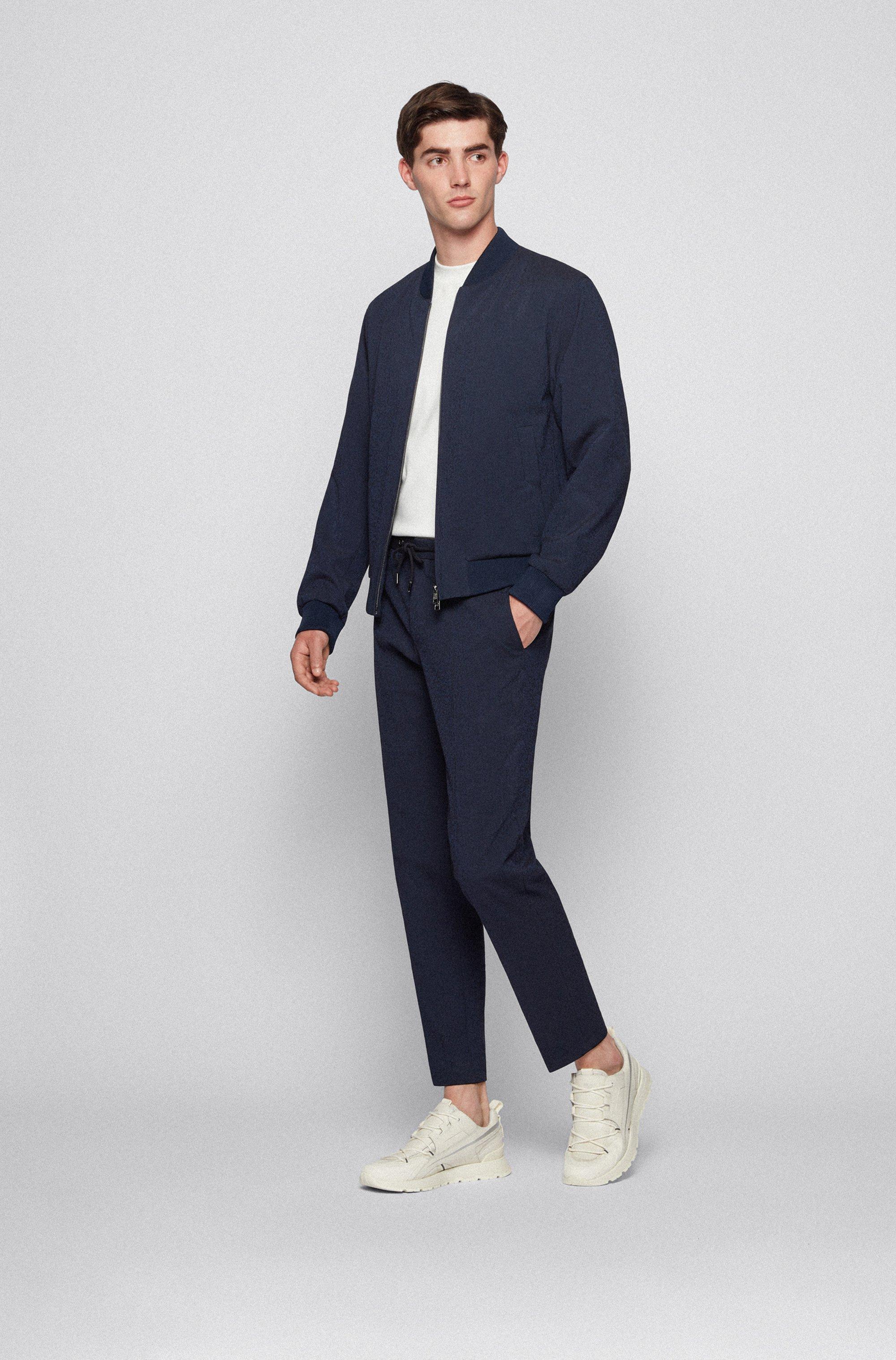 Slim-fit jacket in cotton-blend seersucker