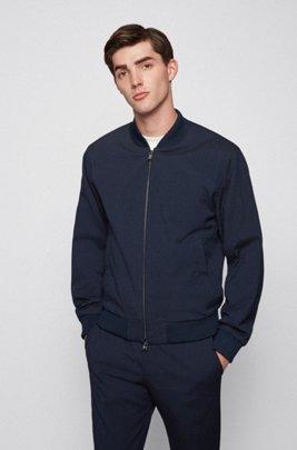 Slim-fit jacket in cotton-blend seersucker, Dark Blue