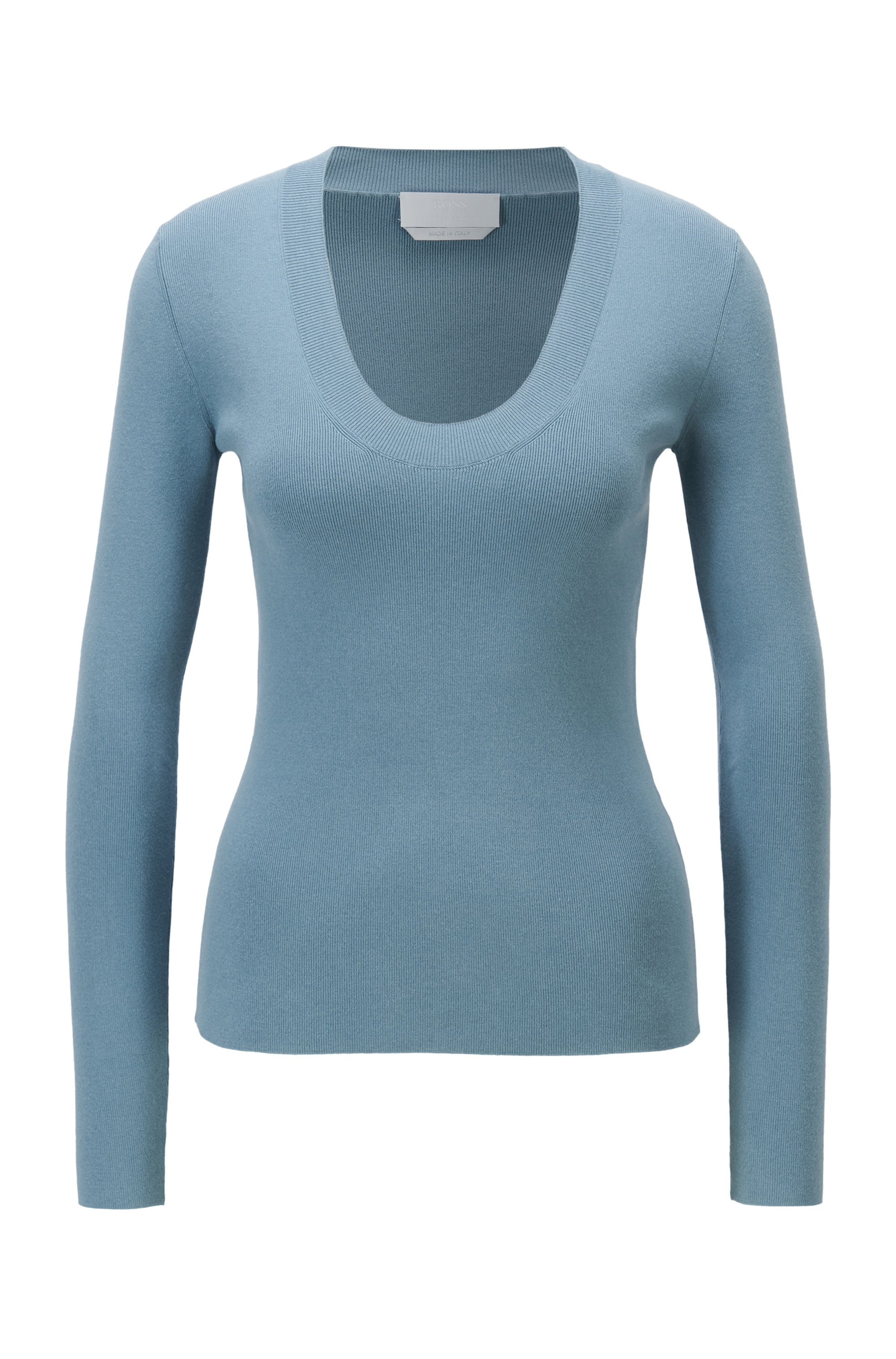 Scoop-neck sweater in ribbed stretch fabric, Light Blue