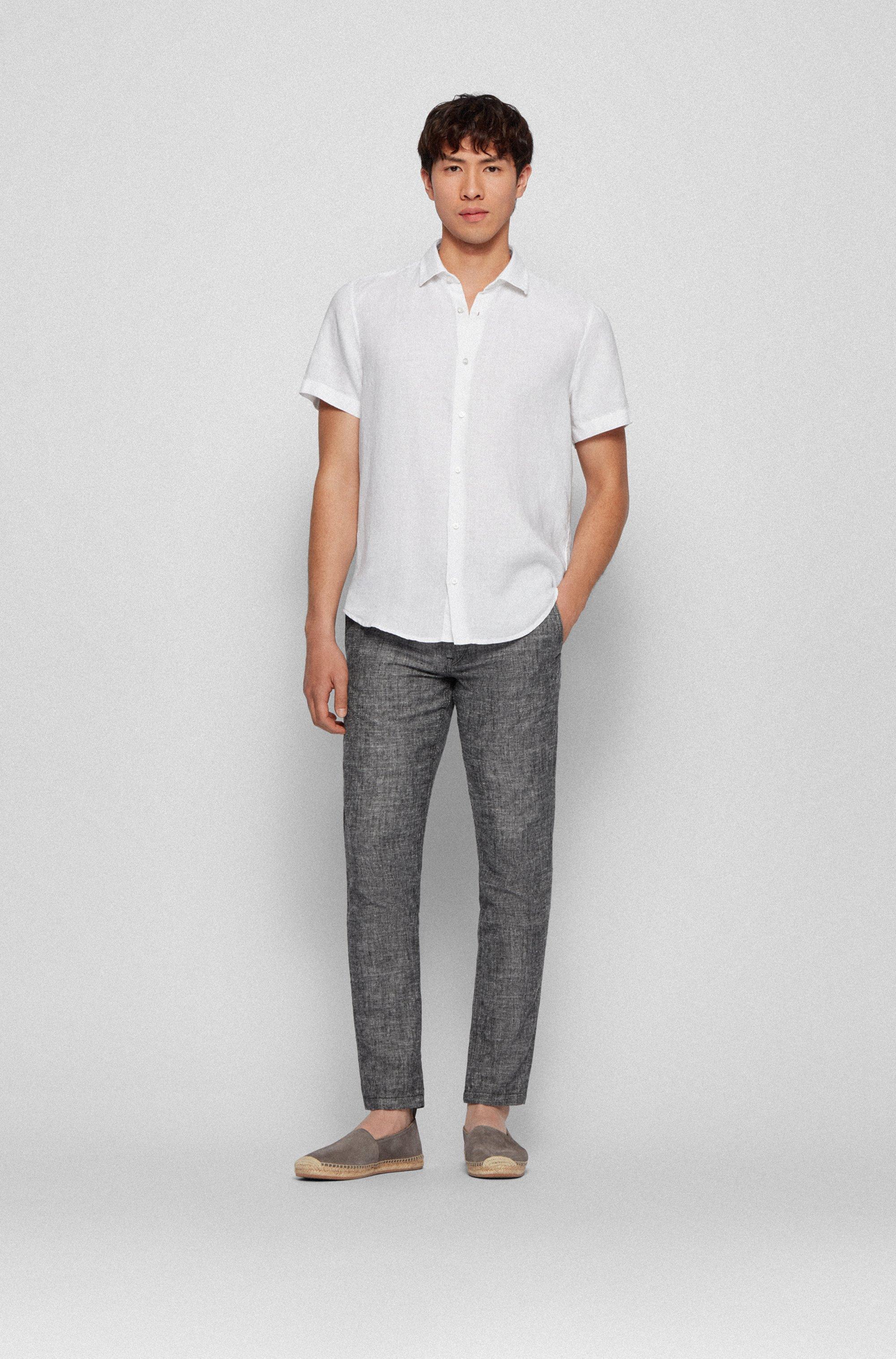 Regular-fit overhemd van linnen popeline met puntkraag