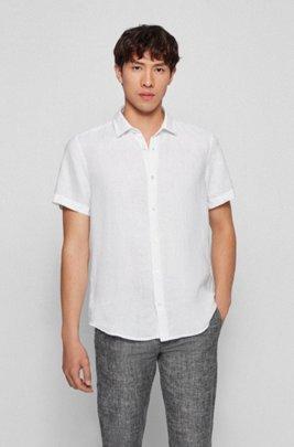 Regular-fit overhemd van linnen popeline met puntkraag, Wit