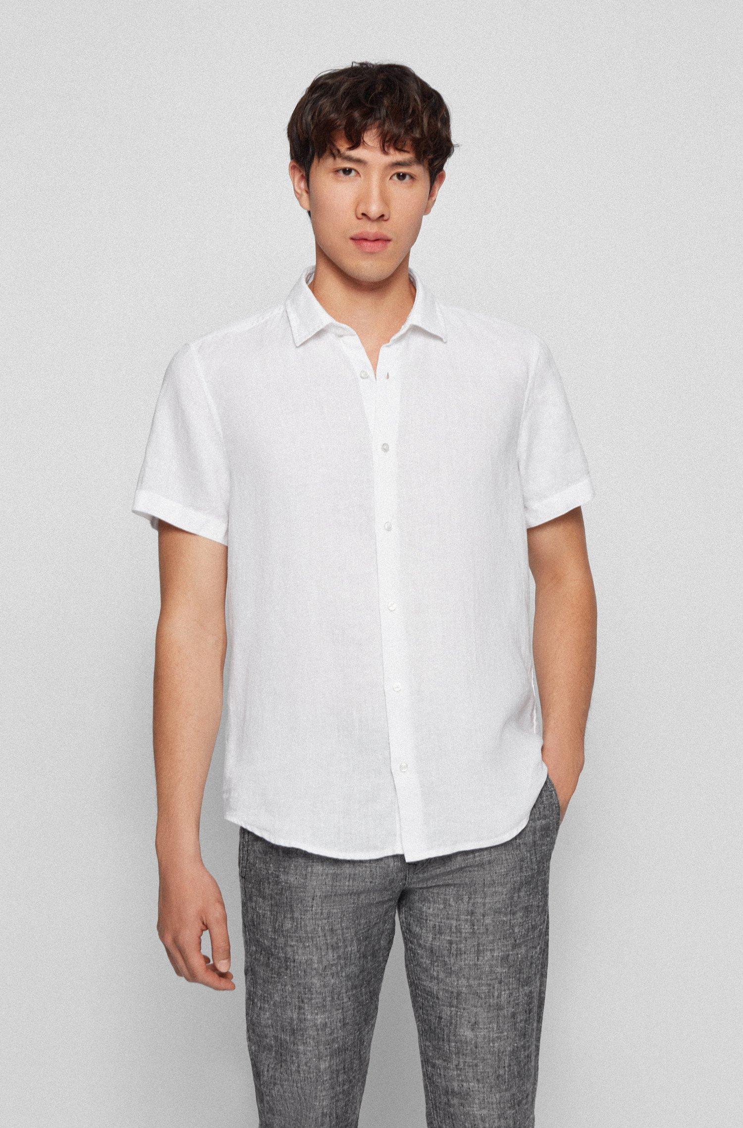 Chemise Regular Fit en popeline de lin à col en pointes, Blanc