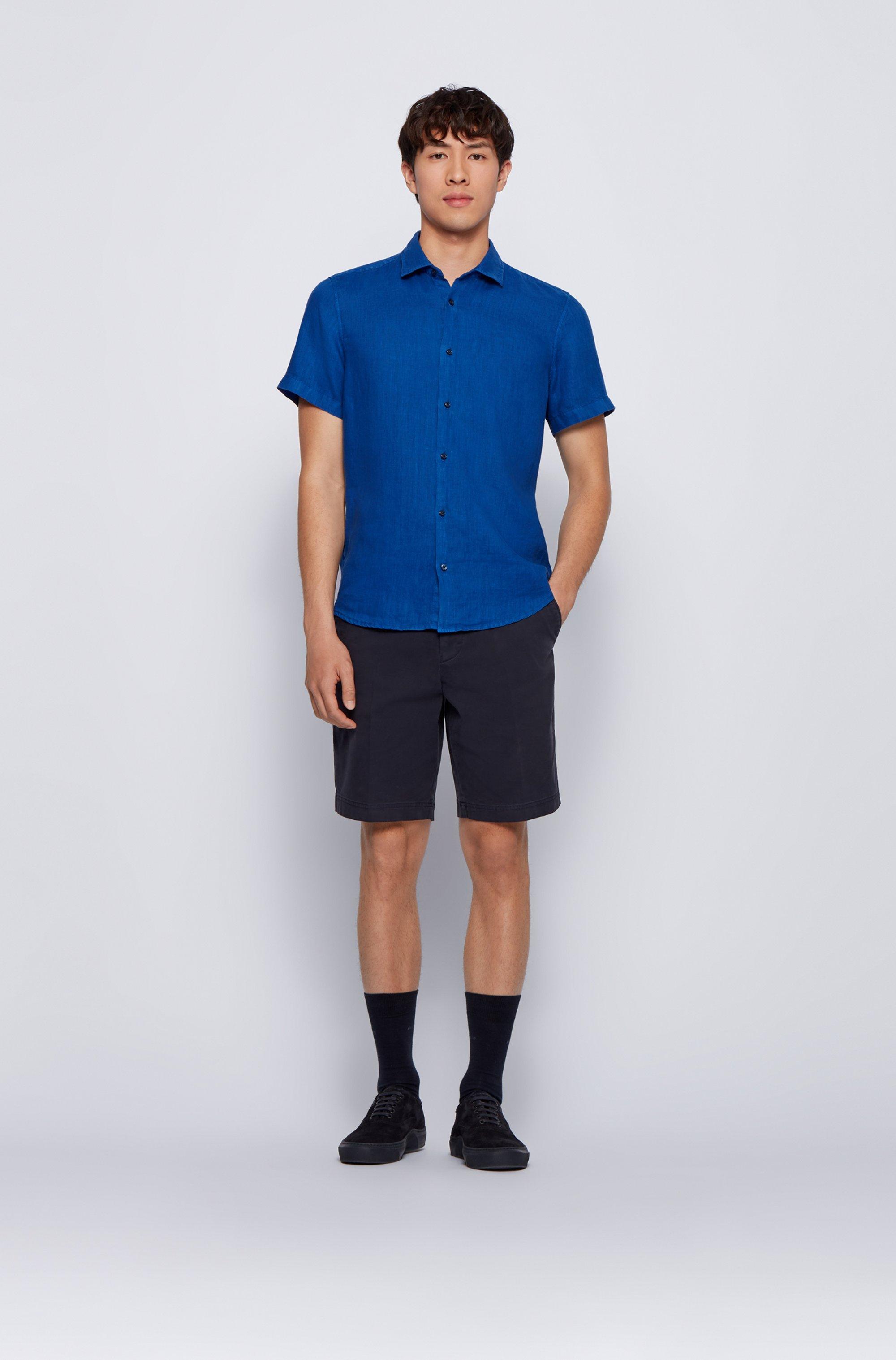 Regular-fit shirt in linen poplin with point collar