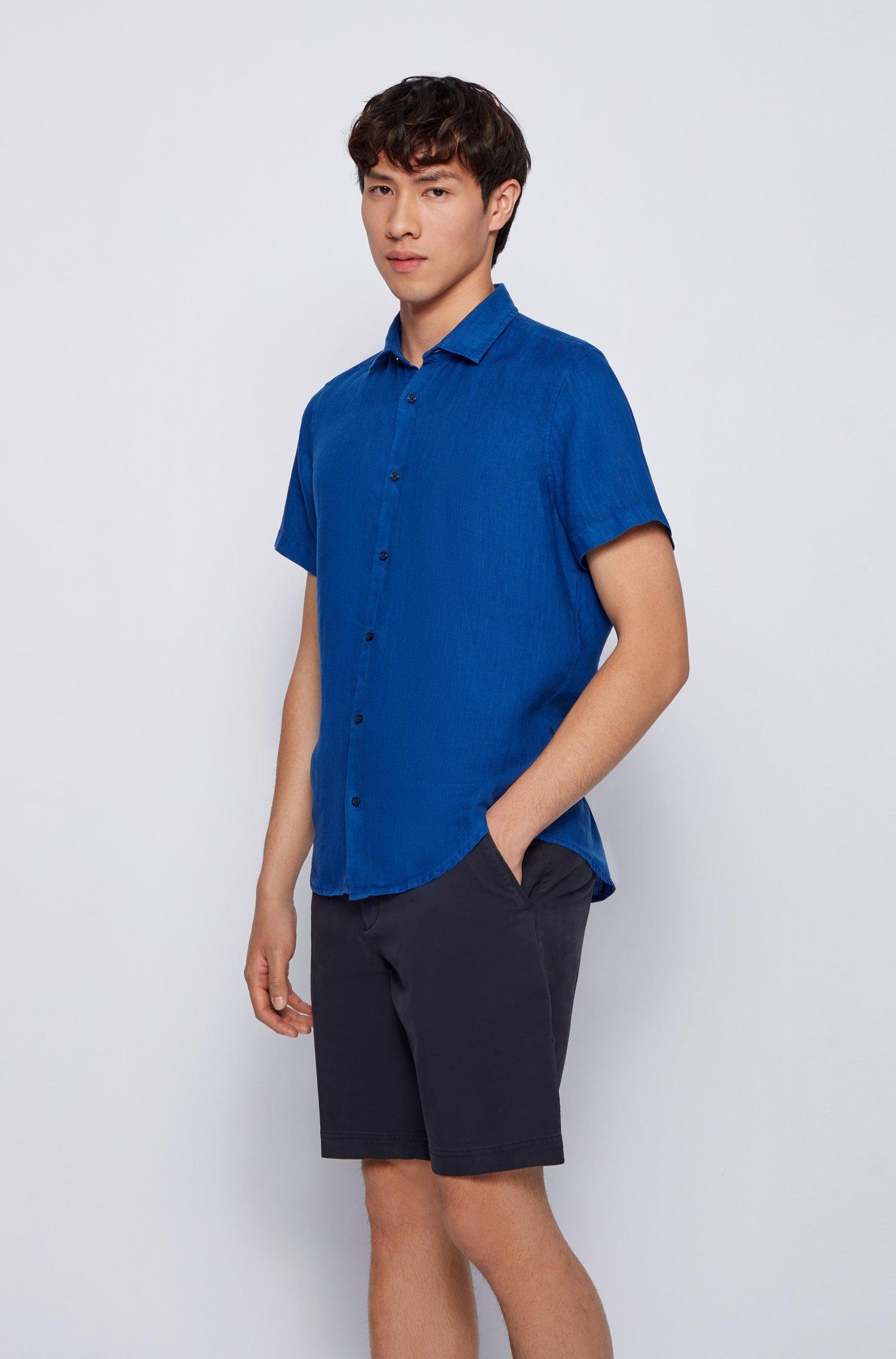 Camicia regular fit in popeline di lino con colletto a punta, Blu