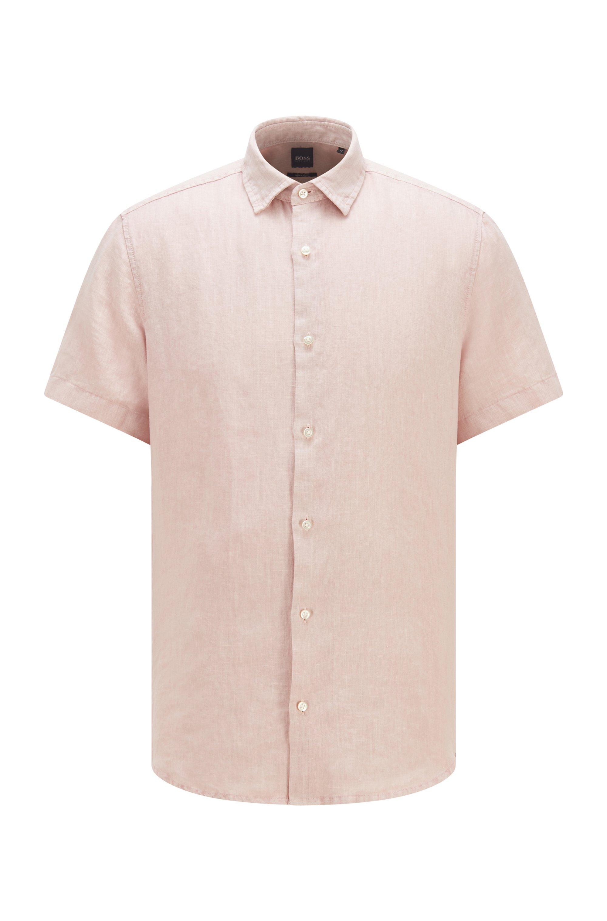 Camicia regular fit in popeline di lino con colletto a punta, Rosa chiaro