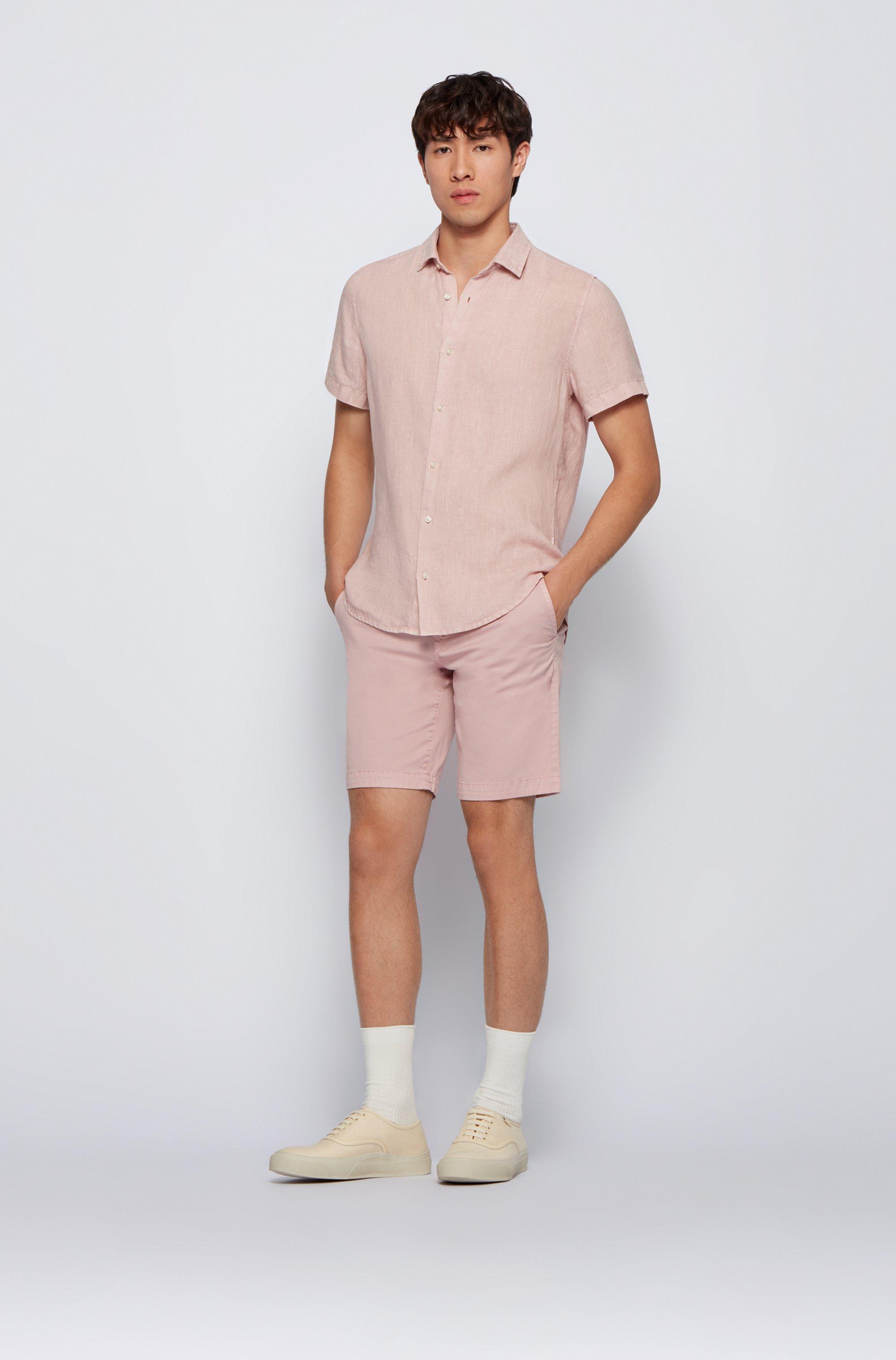 Camicia regular fit in popeline di lino con colletto a punta