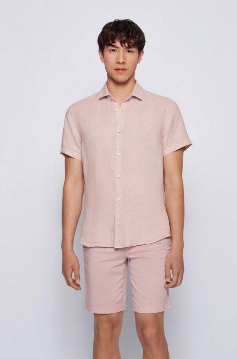 Regular-fit shirt in linen poplin with point collar, light pink