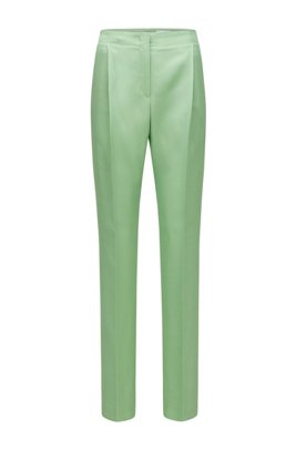 Extra lange regular-fit broek met hoge tailleband, Kalk