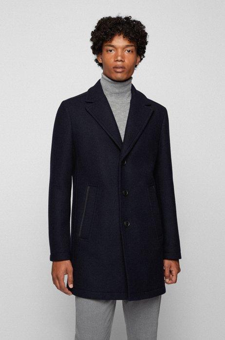 Regular-fit coat in an Italian wool blend, Dark Blue
