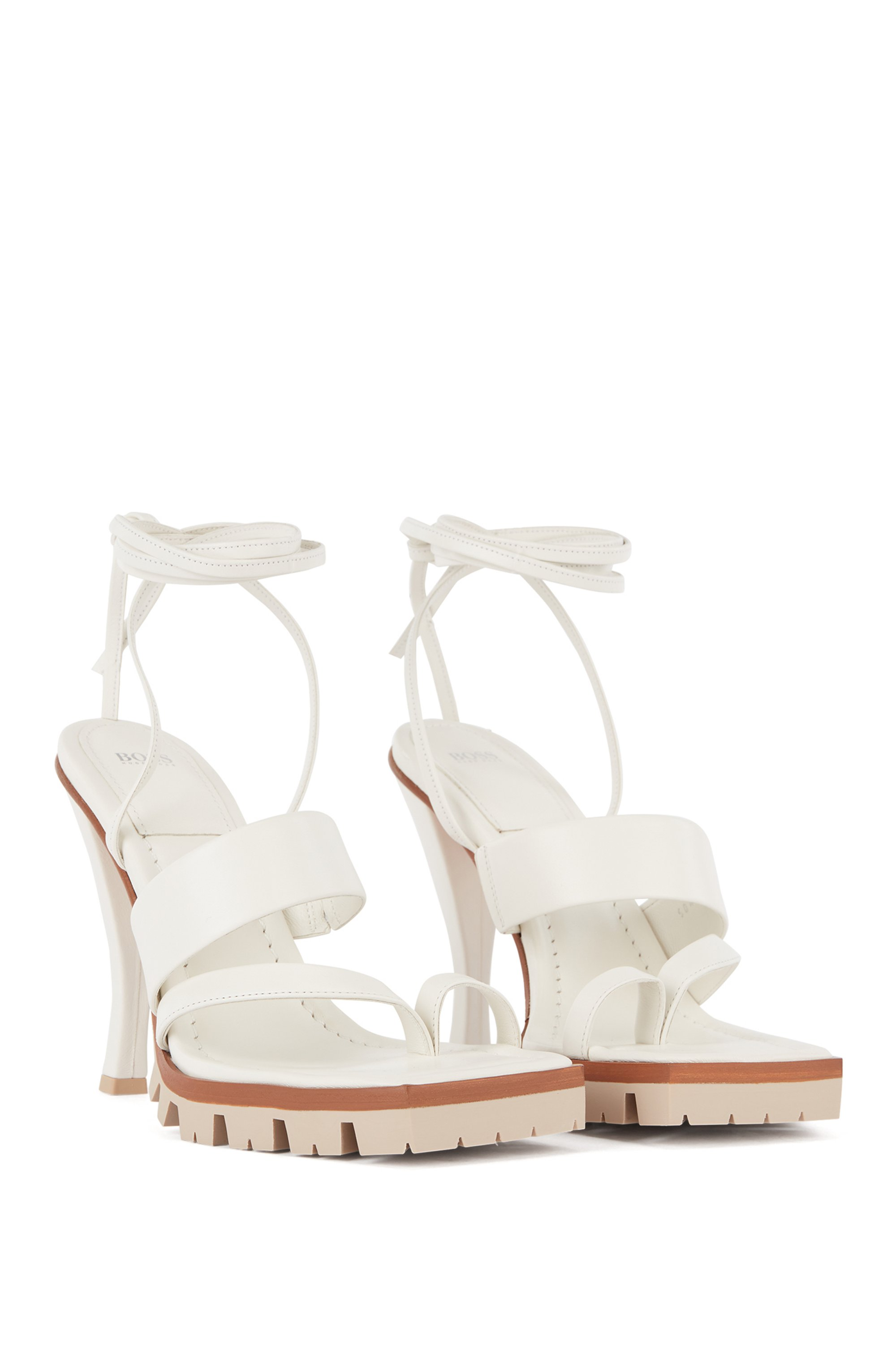 High-heeled sandals in nappa leather with ankle ties