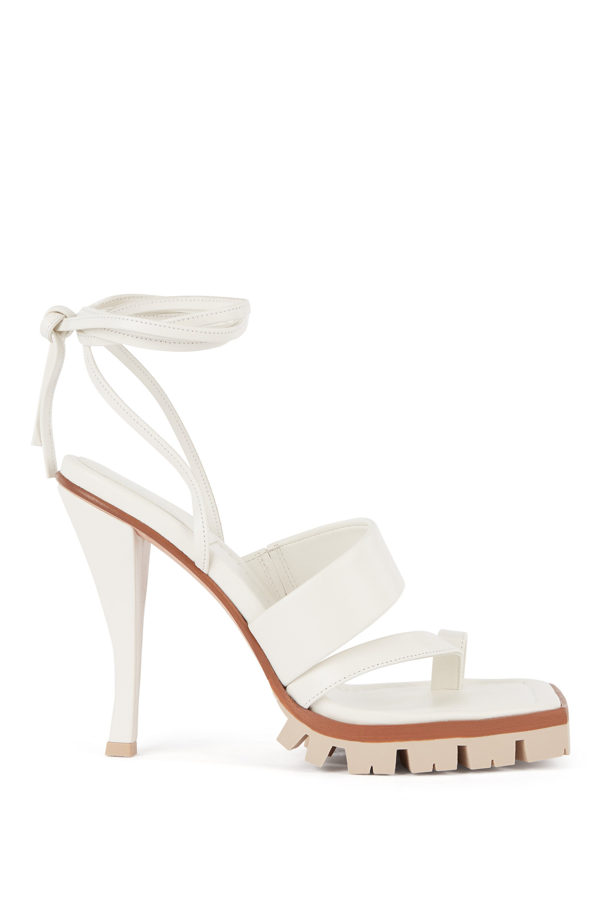 High-heeled sandals in nappa leather with ankle ties, White