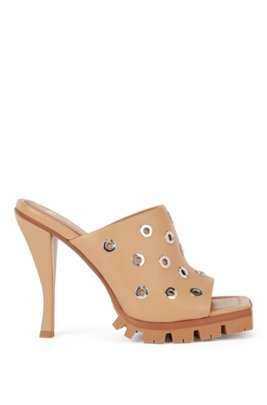 High-heeled mules in nappa leather with eyelet trim, Light Brown