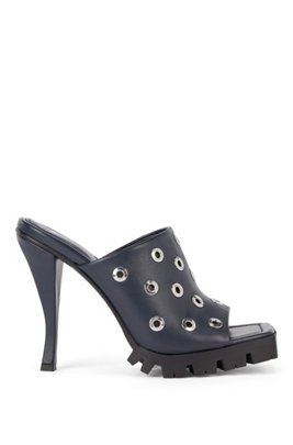 High-heeled mules in nappa leather with eyelet trim, Dark Blue