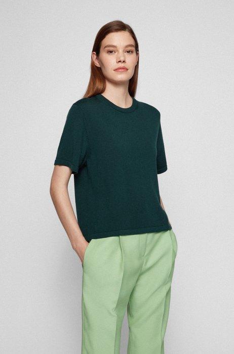 Short-sleeved sweater in superfine merino wool, Dark Green