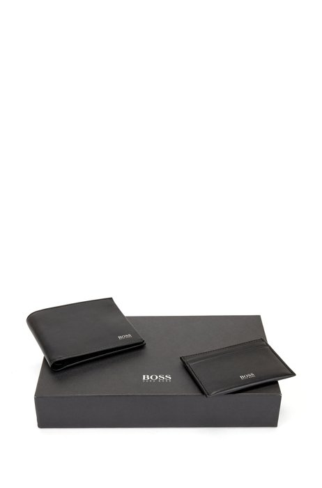 Nappa-leather wallet and card holder gift set, Black