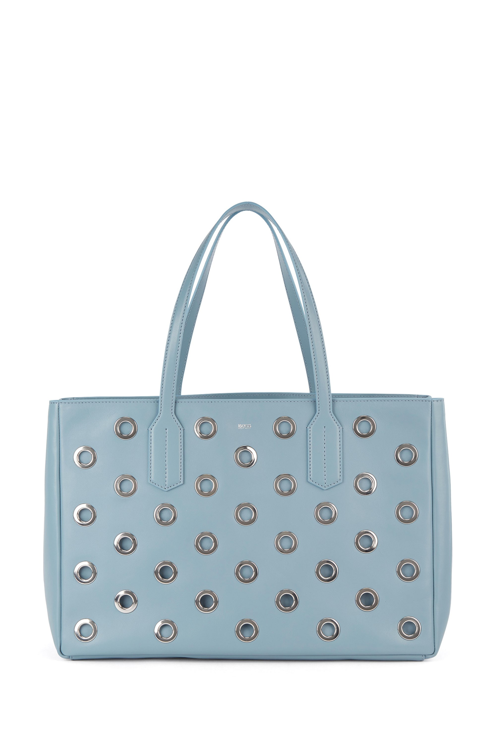 Tote bag in tumbled leather with metallic eyelets, Light Blue