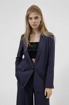 Relaxed-fit jacket with shawl lapels, Dark Blue