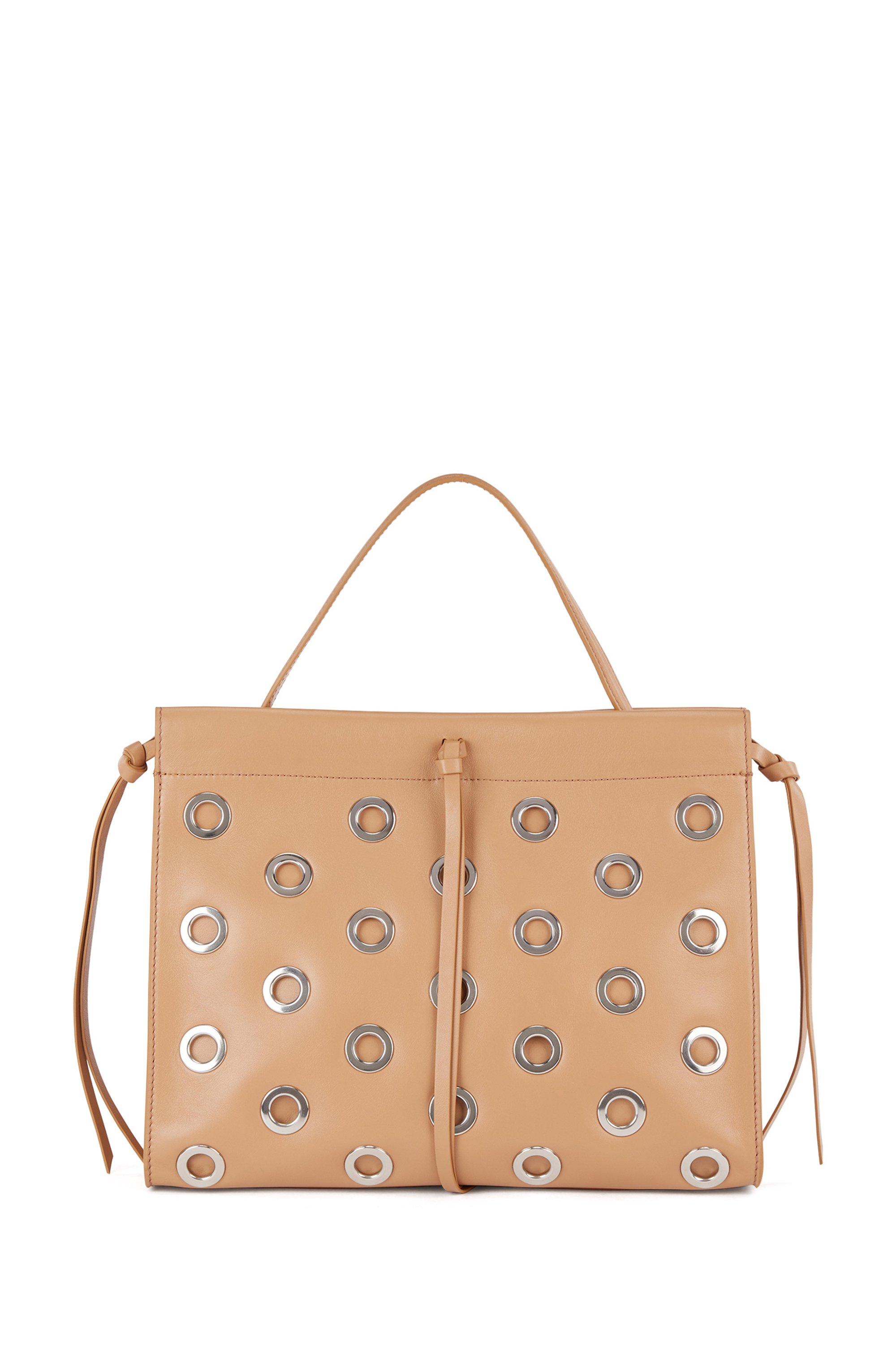 Metallic-eyelet tote bag in leather with lace details, Light Brown