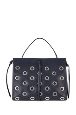 Metallic-eyelet tote bag in leather with lace details, Dark Blue