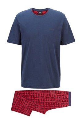 Stretch-cotton jersey pyjama set with logos, Light Red