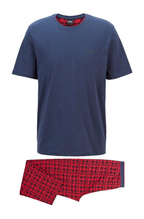 Jersey-Pyjama aus Stretch-Baumwolle mit Logos, Hellrot